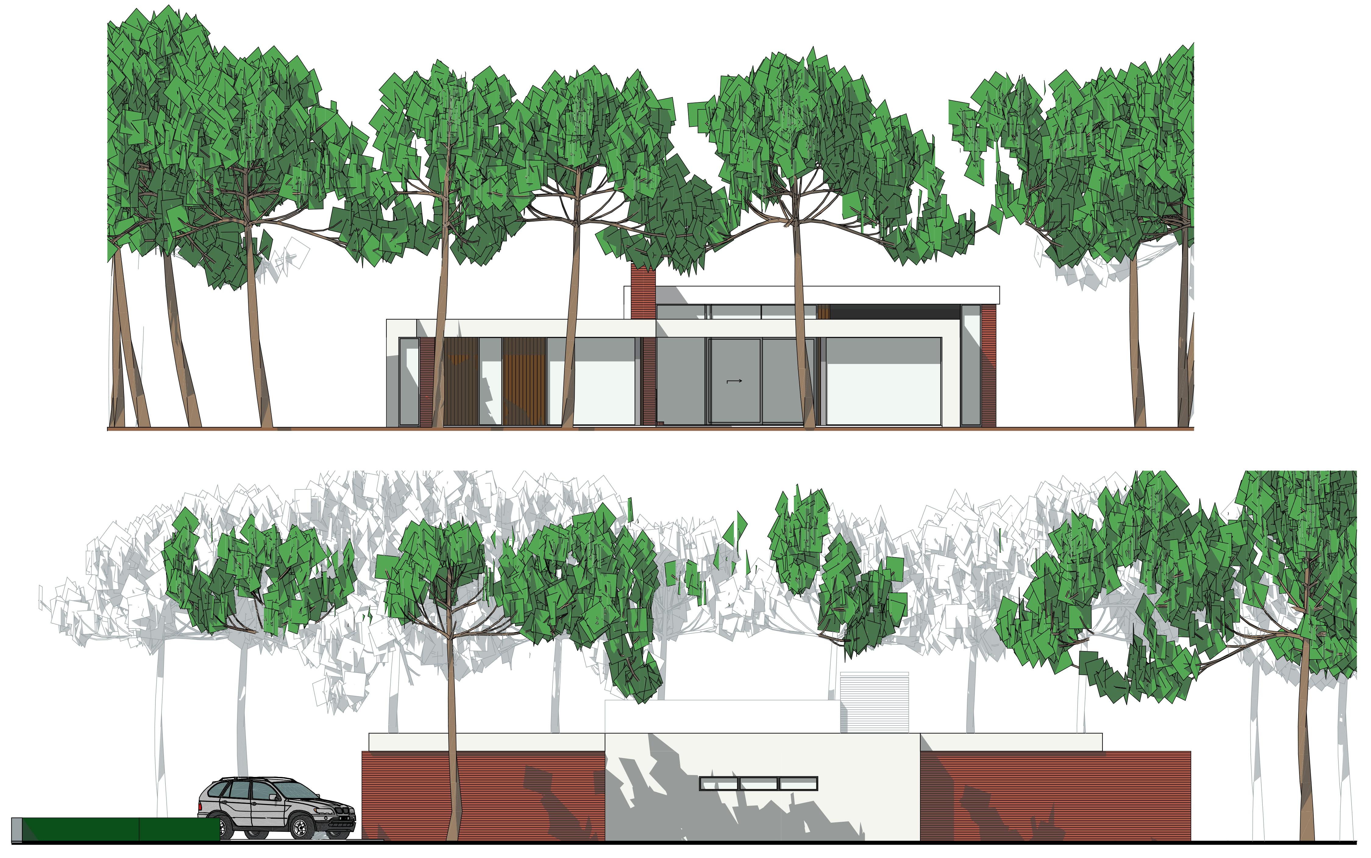 Nieuwbouw villa onder architectuur: achtergevel en zijgevel