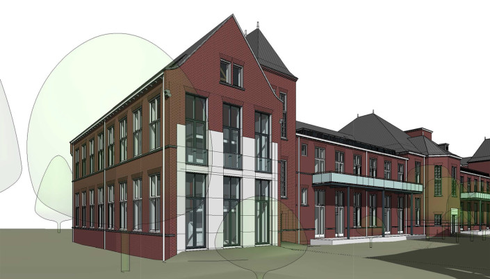 Architectenbureau A&R10 toont leesbare ingreep (met beton en aluminium) in geval van herbestemd voormalig pathologielab Universiteit Leiden