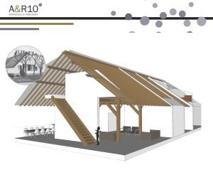 Architectenbureau A&R 10 - gespecialiseerd in Architectuur en Restauratie - deed een ontwerpstudie voor dubbele bewoning van een monumentale boerderij. Deze poster toont daar een beeld van.