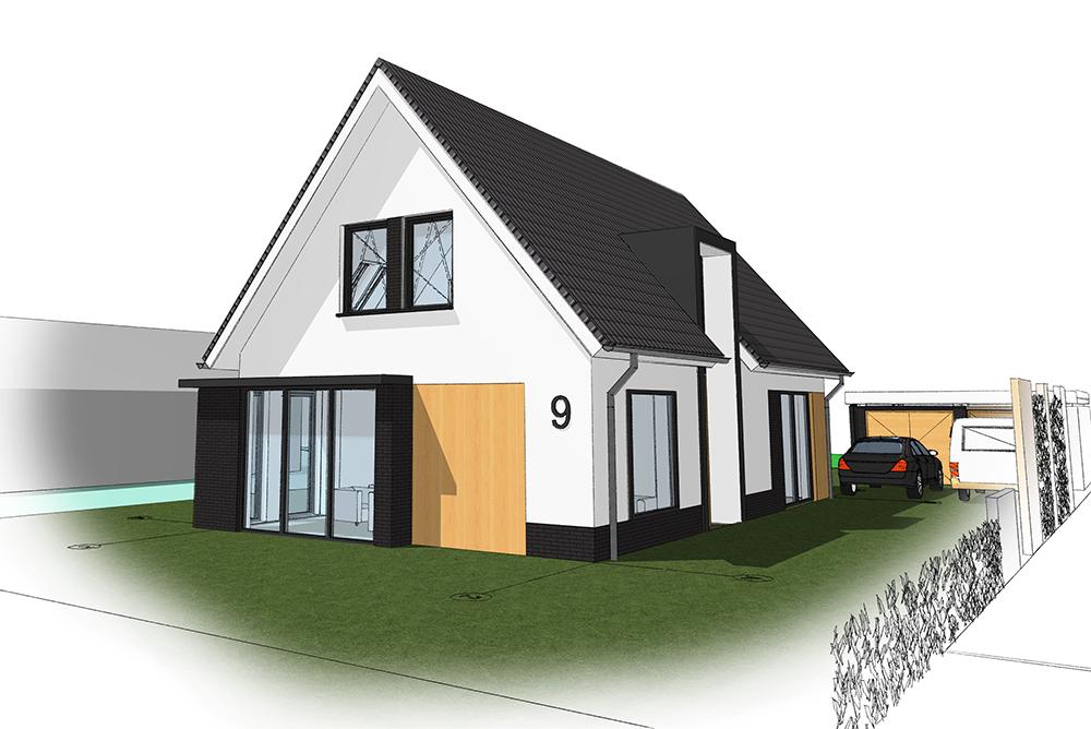 Ontwerp architect verbouwing moderne vrijstaande jaren '60 bungalow in Maarn