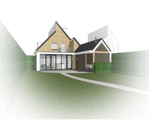 Ontwerp A&R10 architect voor moderne uitbouw bestaand woonhuis Soesterberg