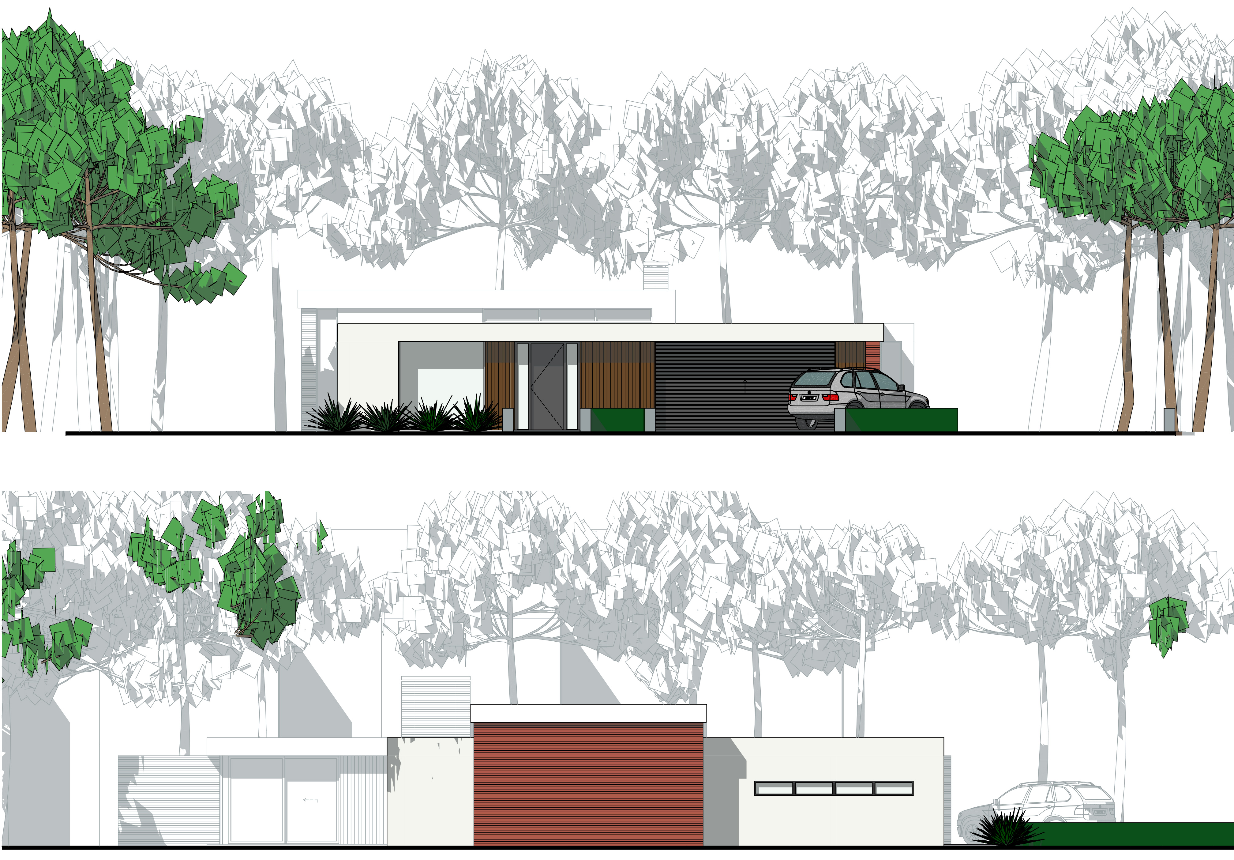 Nieuwbouw villa onder architectuur: gevelaanzichten