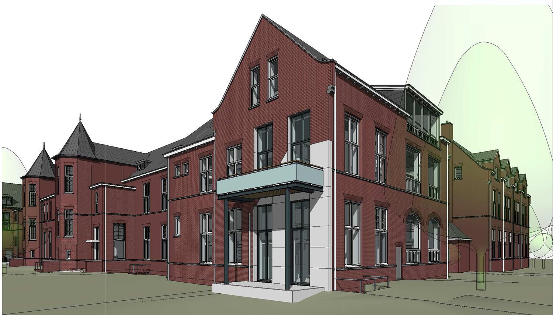 Architectenbureau A&R10 ontwierp voor de herbestemming van het voormalige pathologielab in Leiden een nieuwe invulling voor gevel en balkon van een woning