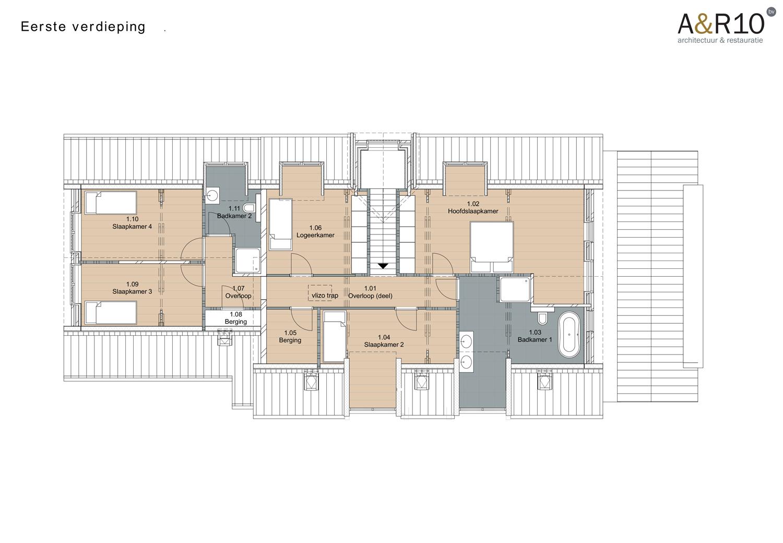 Indeling kangoeroe woonboerderij: de verdieping met ruime badkamer