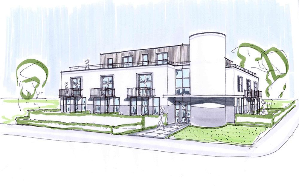 Transformatie ontwerp architect kantoorpand tot woon appartementen Nieuwegein