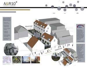 Beeld van het schetsontwerp dat architectenbureau A&R10 deed voor een nieuwe 'historische' invulling van een binnenstedelijke locatie in Amersfoort.