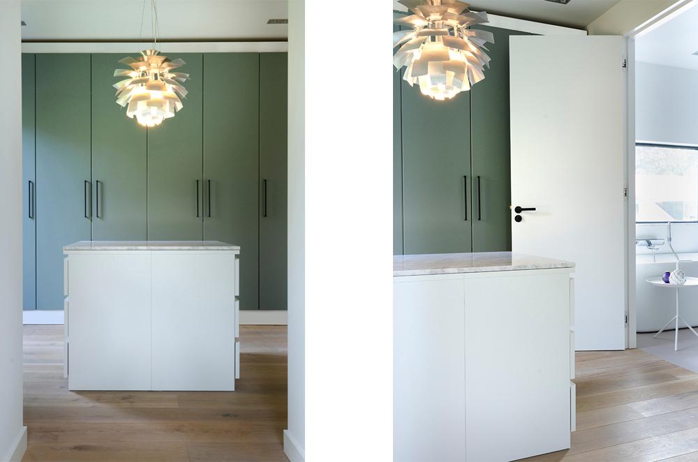 Resultaat verbouwing bungalow tot villa - kleedkamer annex inloopkast met doorloop naar badkamer