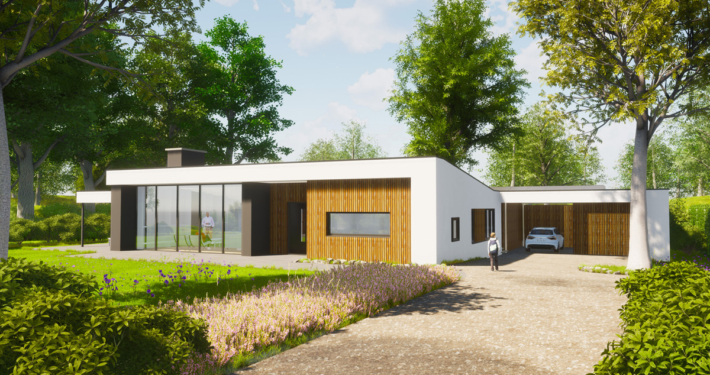 Artist impression van verbouwing en uitbreiding levensloopbestendige bungalow - zicht op garage
