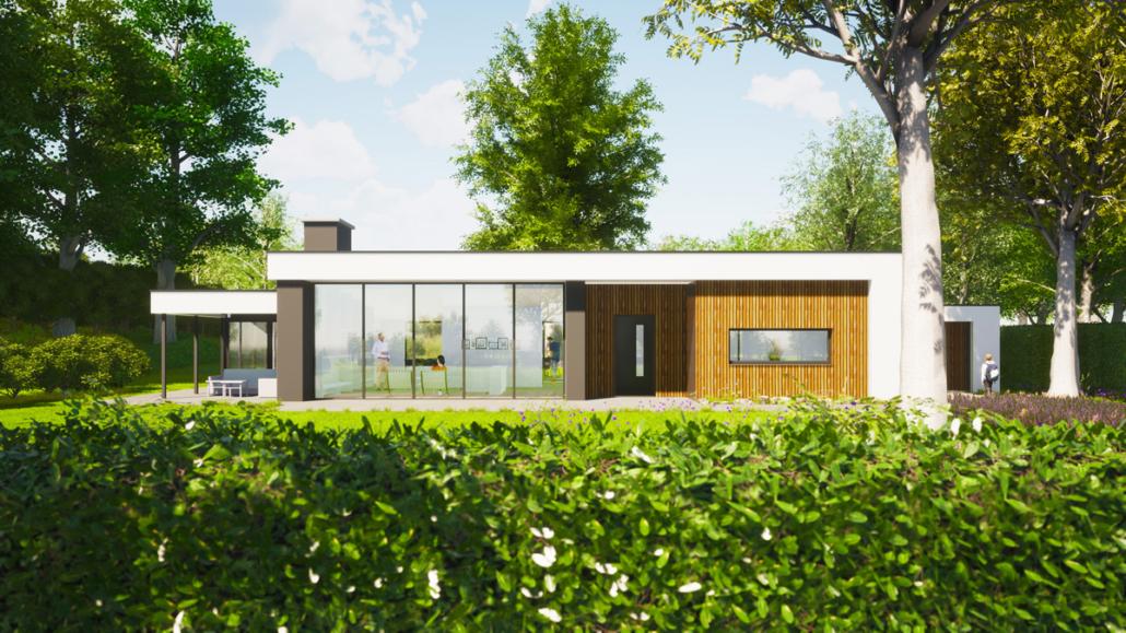 Artist impression van verbouwing en uitbreiding levensloopbestendige bungalow - zicht op voorgevel
