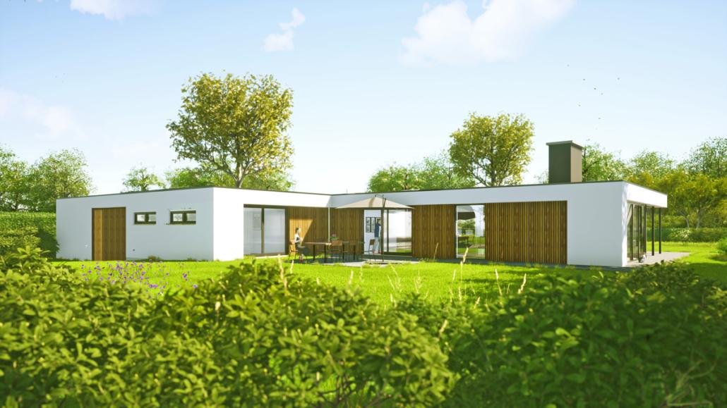 Artist impression van verbouwing en uitbreiding levensloopbestendige bungalow - achtergevel en tuin